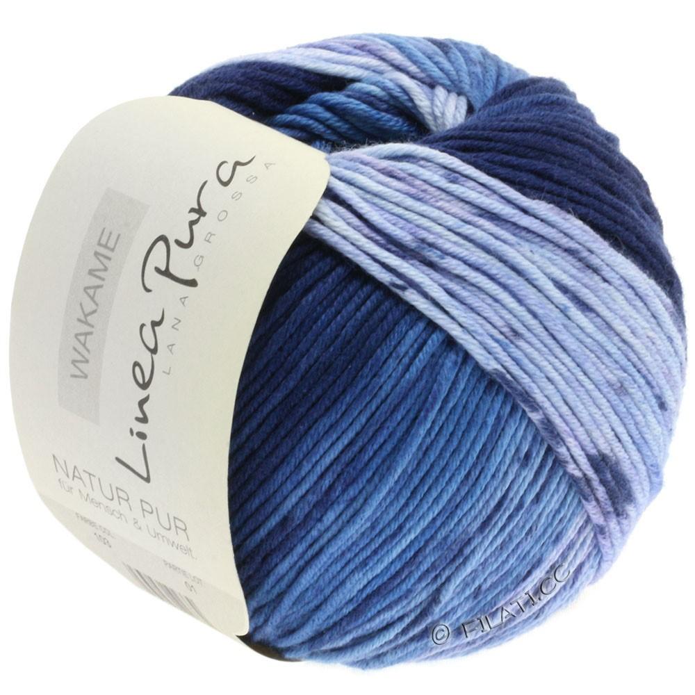 Lana Grossa WAKAME Uni/Print уни/принт (Linea Pura) | 103-мягко-синий/светло-голубой/средне-синий/синий/тёмно-синий
