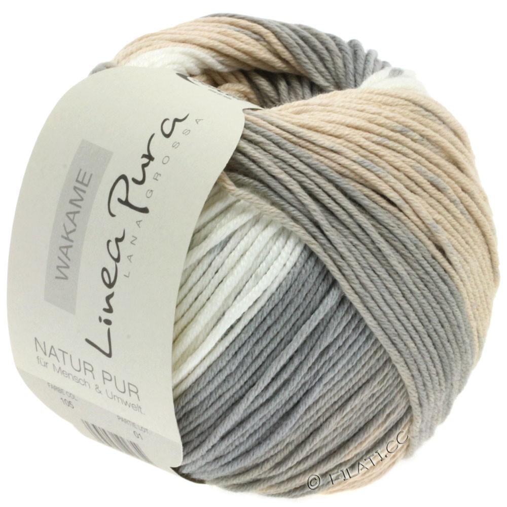 Lana Grossa WAKAME Uni/Print уни/принт (Linea Pura) | 105-натуральный/бежевый/серо- бежевый/песок/серый