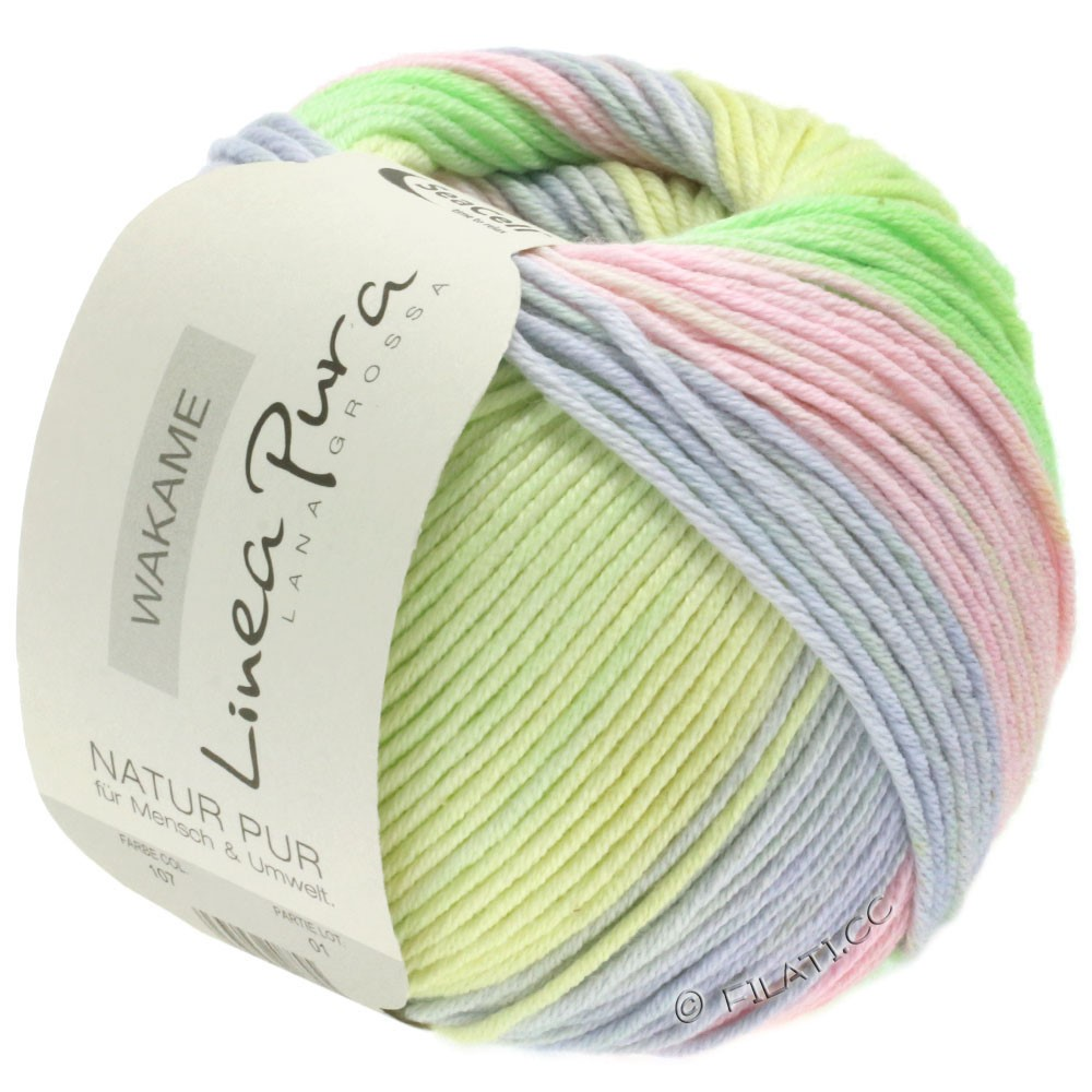 Lana Grossa WAKAME Uni/Print уни/принт (Linea Pura) | 107-розовый/светло-серый/ванильный/светло-зелёный/сирень