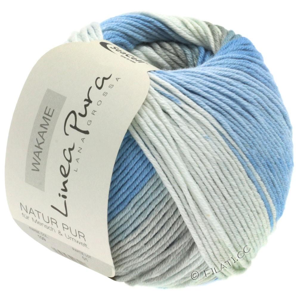 Lana Grossa WAKAME Uni/Print уни/принт (Linea Pura) | 109-белый/синий/серый/джинс