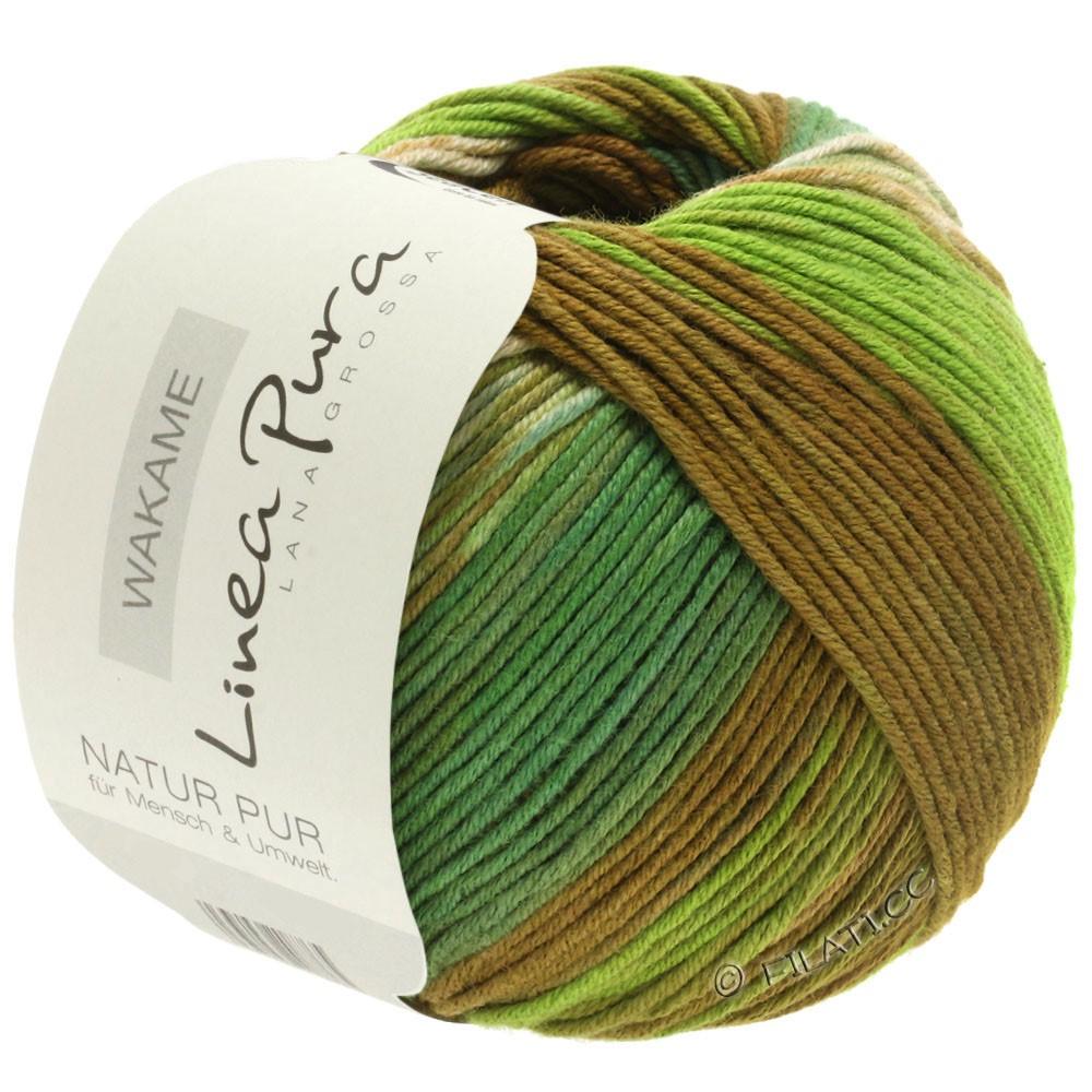 Lana Grossa WAKAME Uni/Print уни/принт (Linea Pura)   113-бежевый/коричневый/светло-зелёный/тёмно-зелёный