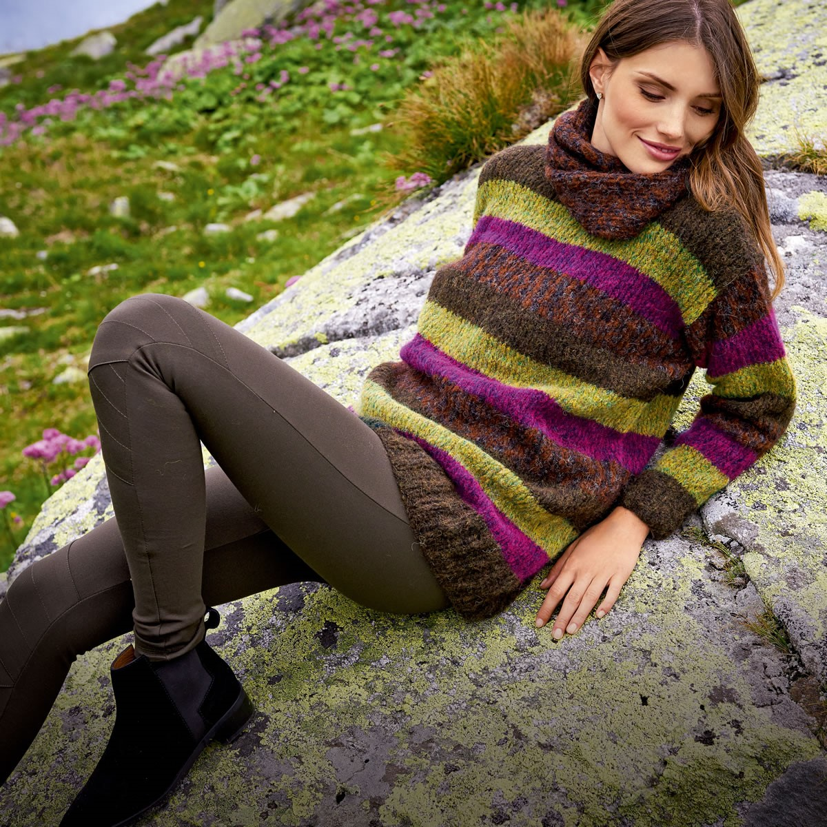 Lana Grossa Прямой пуловер в полоску Garzato Fleece uni/print