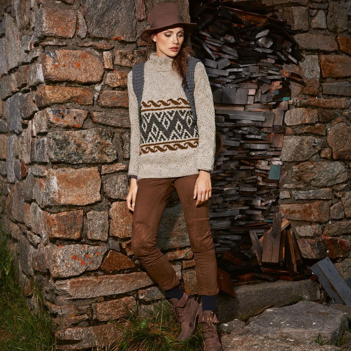 Lana Grossa Пуловер с зигзагами из жемчужного узорa Royal Tweed