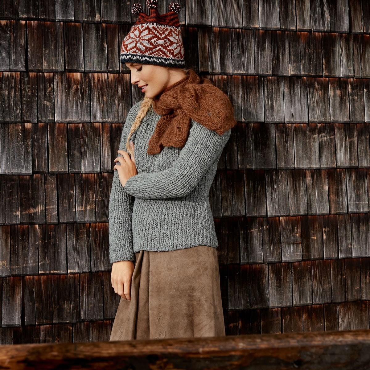 Lana Grossa Шапка с жаккардовым узором и полосами Alta Moda Alpaca