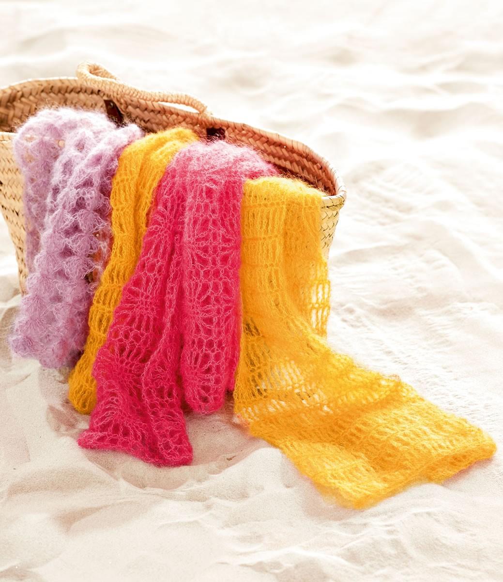Lana Grossa Тонкий малиновый ажурный шарф Silkhair