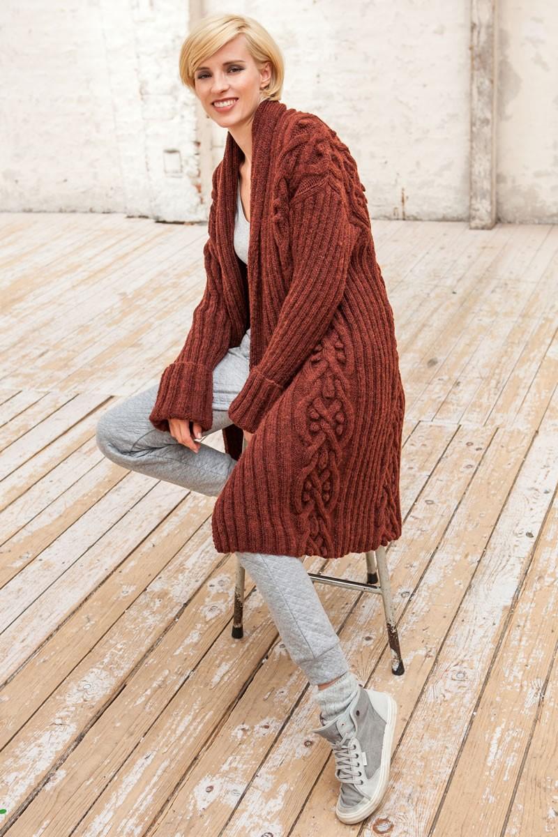 Lana Grossa ЖАКЕТ С УЗОРОМ ИЗ РОМБОВ, ШИШЕЧЕК И ЛИСТОЧК Alta Moda Alpaca