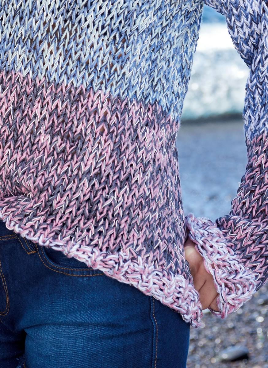 Lana Grossa ПУЛОВЕР С ЦВЕТНЫМИ ВСТАВКАМИ Secondo Print/365 Cotone