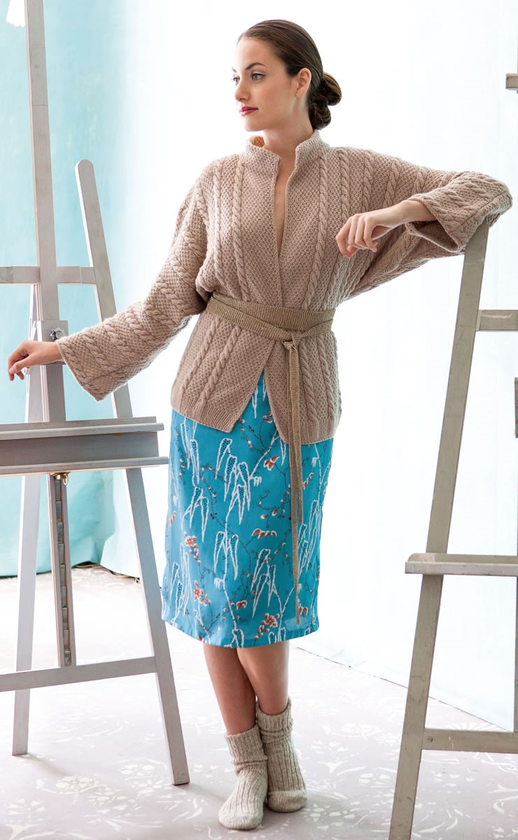 Lana Grossa КАРДИГАН, СВЯЗАННЫЙ ЖЕМЧУЖНЫМ УЗОРОМ С КОСАМИ 100% Cashmere Fine