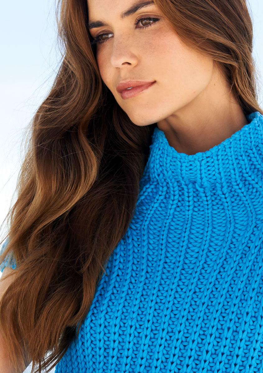 Пуловер с рукавами реглан спицами (английская резинка) 68