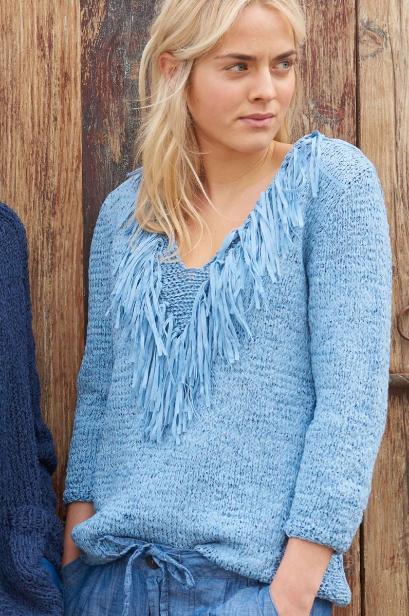 Lana Grossa Пуловер с V-образным вырезом и вставками изнаночной глади Lunare
