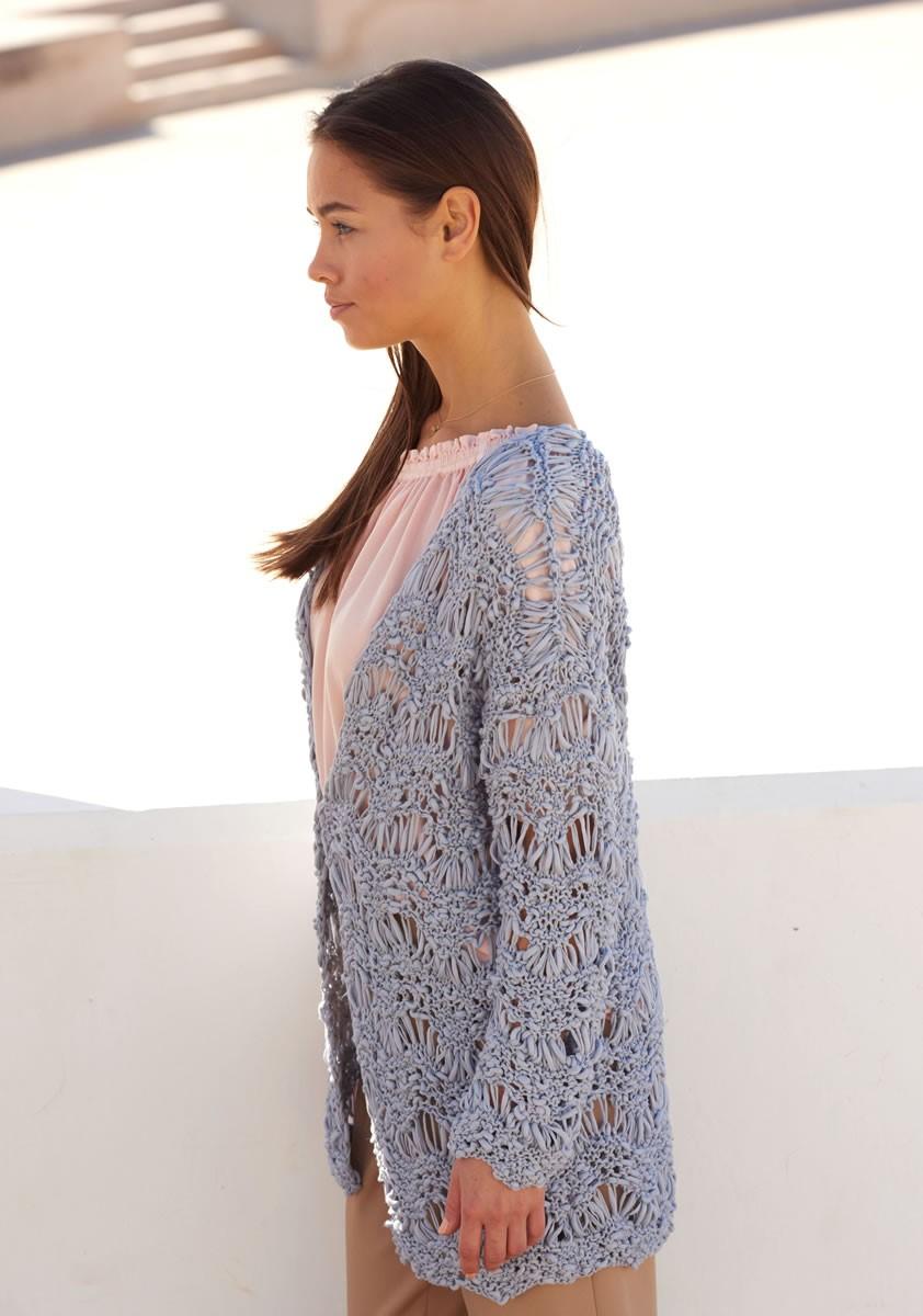 Lana Grossa ЖАКЕТ, СВЯЗАННЫЙ ВОЛНИСТЫМ УЗОРОМ Cotton Style