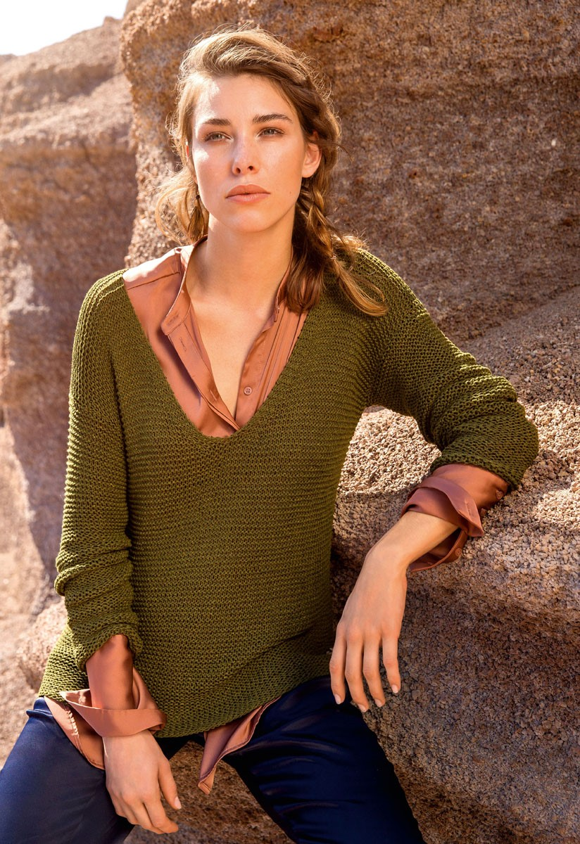 Lana Grossa Пуловер с V-образным вырезом Solo Lino Mélange