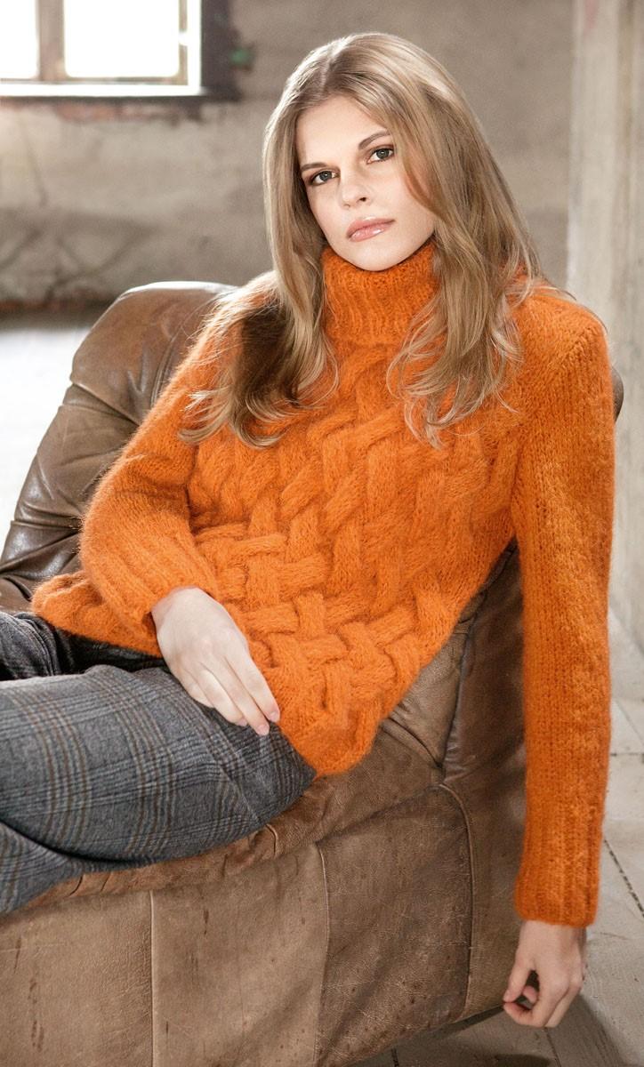 Lana Grossa Пуловер, связанный плетеным узором и лицевой гладью Mohairnuovo