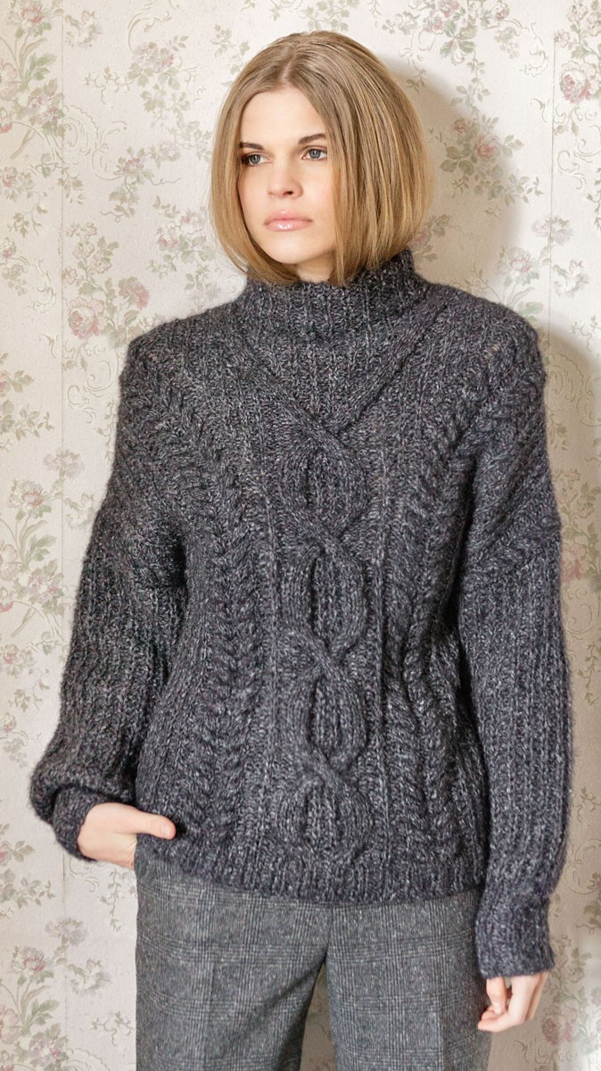 Lana Grossa Пуловер, связанный полупатентным узором с косами и ромбами Anima