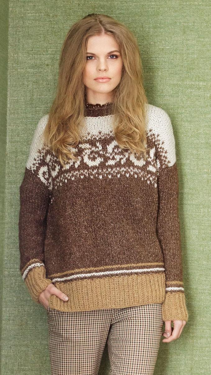 Lana Grossa Пуловер с жаккардовыми бордюрами Mohairnuovo