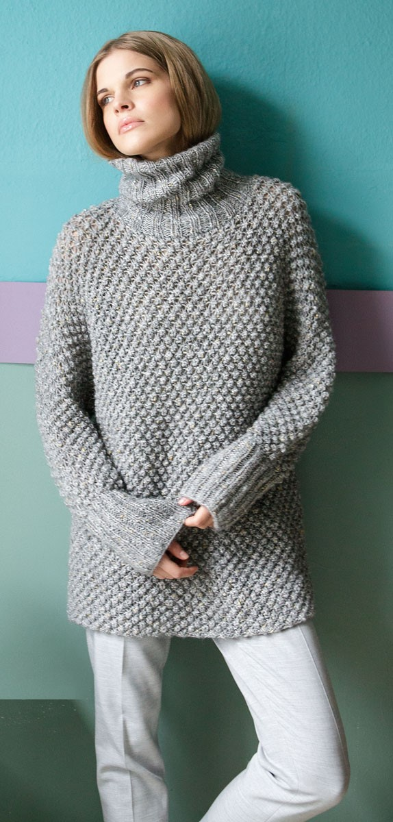 Lana Grossa Пуловер с рукавами кимоно, связанный «звездочками» Cometa