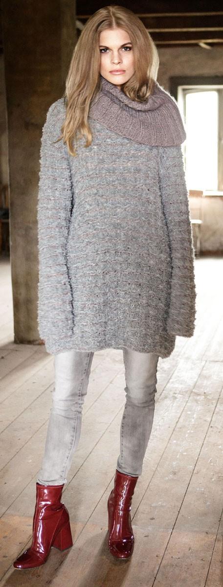 Lana Grossa Удлиненный пуловер, связанный узором со снятыми петлями Micio/Silkhair