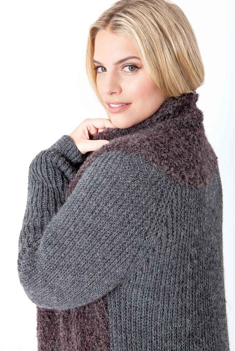 Lana Grossa Пальто, связанное полупатентным узором и лицевой гладью Cool Wool Alpaca/Tendenza