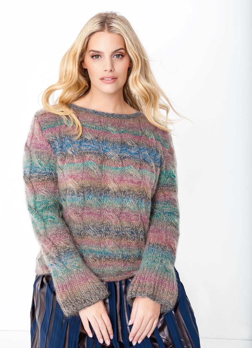 Lana Grossa Пуловер, связанный узором с косами Cashmere 16 Fine Degradé/Splendid