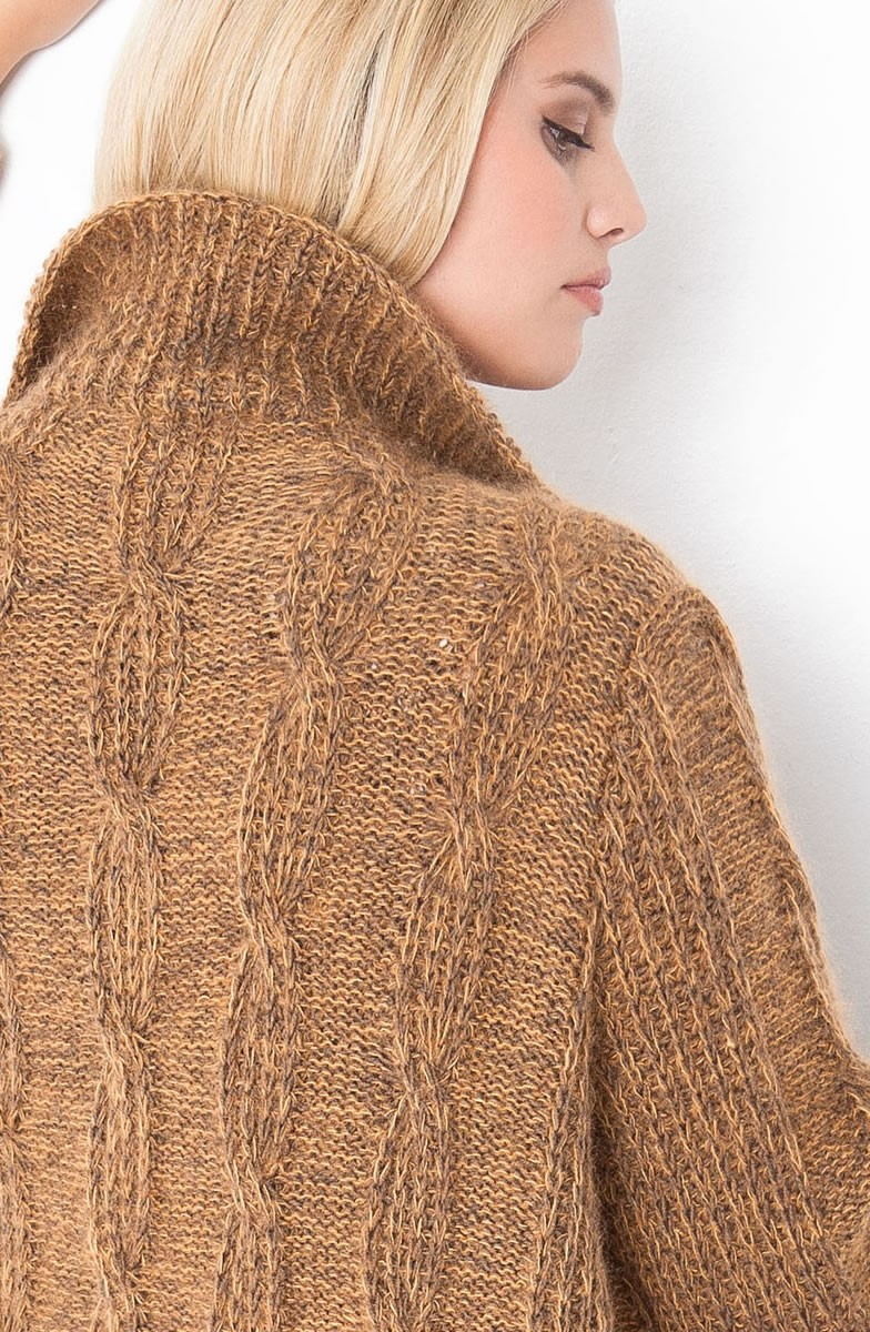 Lana Grossa Кардиган, связанный полупатентным узором с косами Cool Wool Melange/Silkhair