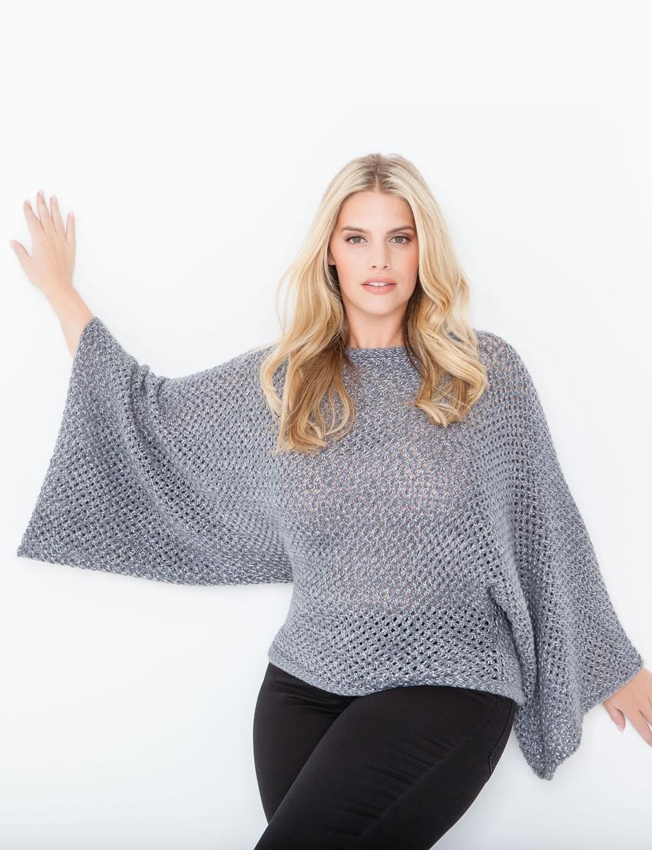 Lana Grossa Пончо-пуловер, связанный узором с дырочками Stellina