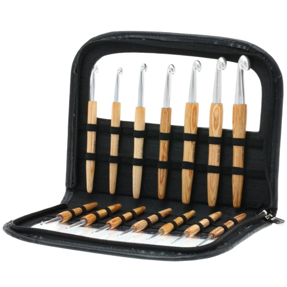 Lana Grossa Набор крючков с деревянной ручкой, алюминий Design-Holz Color